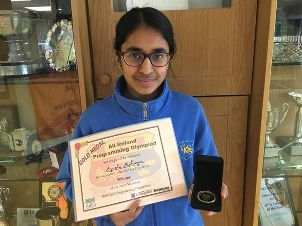 Ayushi wins 1st place in All Ireland Programming Olympiad